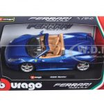 Ferrari 458 Spider Blue 1/24 Diecast Model Car by Bburago
