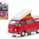 1968 Volkswagen Type 2 (T2B) Camper Van Red Hobby Esclusive 1/64 Diecast Model Car by Greenlight