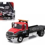 2016 International Durastar 4400 Verizon IndyCar Series Flatbed Tow Truck Red and Black 1/64 Diecast Model by Greenlight