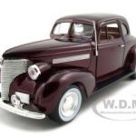 1939 Chevrolet Coupe Burgundy 1/24 Diecast Model Car by Motormax