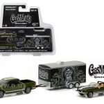2015 Ford F-150 Green and 1968 Shelby GT500KR Convertible Green with Enclosed Car Hauler Gas Monkey Garage (2012-Current TV Series) 1/64 Diecast Model Cars by Greenlight