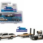 2015 Dodge Ram and 1974 Dodge Monaco Bluesmobile on Flatbed Trailer Blues Brothers Movie (1980) 1/64 Diecast Model Cars by Greenlight