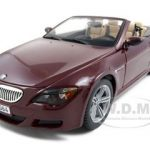 BMW M6 E64 Convertible Burgundy 1/18 Diecast Model Car by Maisto