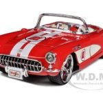 1957 Chevrolet Corvette Red with White Stripes 1/24 Diecast Model Car by Maisto