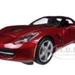 2014 Chevrolet Corvette C7 Coupe Metallic Dark Red 1/24 Diecast Model Car by Maisto