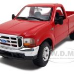 1999 Ford F-350 Super Duty Pickup Truck  4×4 Red 1/27 Diecast Model by Maisto