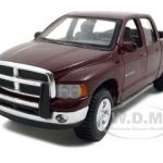2002 Dodge Ram Quad Cab Burgundy 1/27 Diecast Model  Car by Maisto