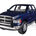 2002 Dodge Ram Quad Cab 4 Doors Pick Up Truck  Blue 1/27 Diecast Model by Maisto