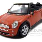 Mini Cooper Cabriolet Orange 1/24 Diecast Model Car by Maisto