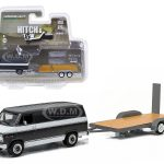 1977 Chevrolet G-20 Van with Flatbed Trailer Hitch & Tow Series 3 1/64 Diecast Model by Greenlight