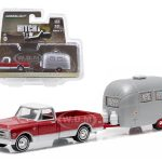 1968 Chevrolet C-10 and Airstream 16 Bambi Sport with Curtains Drawn Hitch & Tow Series 6 1/64 Diecast Model by Greenlight
