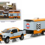 2015 Ford F-150 Pickup Truck #68 Gulf Oil and Enclosed Car Hauler Hitch & Tow Series 7 1/64 Diecast Car Model by Greenlight