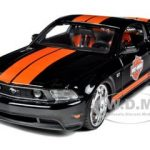 2011 Ford Mustang GT Harley Davidson Black With Orange Stripes 1/24 Diecast Model Car by Maisto