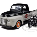 1948 Ford F-1 Pickup Truck Harley Davidson With 1948 FL Panhead Motorcycle White/Black 1/24 by Maisto