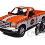 1999 Ford F-350 Pickup Truck 1/27 With Harley Davidson 1936 El Knucklehead Motorcycle 1/24 Orange/White by Maisto