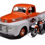 1948 Ford F-1 Pickup Truck Harley Davidson With 1948 FL Panhead Motorcycle Orange/White 1/24 Diecast Model Car by Maisto