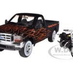 1999 Ford F-350 Super Duty Pickup 1/27 Black with Flames & 2002 FLSTB Night Train Harley Davidson 1/24 by Maisto