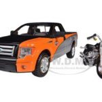 2010 Ford F-150 STX Orange/Black/Silver 1/27 & 1/24 Harley Davidson FLSTF Fat Boy Motorcycle by Maisto