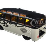 Volkswagen Van Samba Harley Davidson Black and Beige 1/25 Diecast Model Car by Maisto