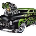 1949 Mercury Coupe Black With Flames Muscle Machines 1/18 Diecast Car Model by Maisto