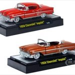 Auto Thentics 1958 Chevrolet Impala Red & Gold 2 Cars Set WITH CASES 1/64 Diecast Model Cars by M2 Machines