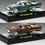 Auto Thentics 1957 Chrysler 300C 2pc Cars Set WITH CASES 1/64 Diecast Model Cars by M2 Machines