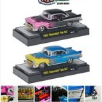 Wild Cards 1957 Chevrolet Bel Air 2pc Set 1/64 Diecast Model Cars by M2 Machines