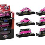 Auto Thentics Volkswagen 6 Cars Set Pink Edition IN DISPLAY CASES 1/64 Diecast Model Cars by M2 Machines