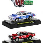Wild Cards 1968 Plymouth Barracuda HEMI Super Stock 2pc Car Set WITH CASES 1/64 Diecast Model Cars by M2 Machines