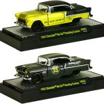 Auto Mods 1955 Chevrolet Bel Air 2 Door Hardtop 2 Cars Set WITH CASES 1/64 Diecast Model Cars by M2 Machines
