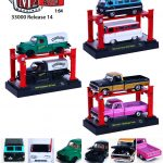 Auto Lift Series 14 6pc Trucks with Lifts Set 1/64 Diecast Model Cars by M2 Machines