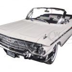 1961 Chevrolet Impala Open Convertible Ermine White 1/18 Diecast Car Model by Sunstar