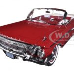 1961 Chevrolet Impala Open Convertible Roman Red 1/18 Diecast Car Model by Sunstar