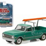 1968 Chevrolet C-10 Pickup Truck Dark green with Ladder Rack Blue Collar Collection 1 1/64 by Greenlight