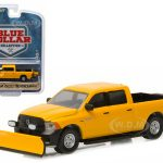 2015 Dodge Ram 1500 Pickup Truck Tradesman Construction with Snow Plow and Salt Spreader Blue Collar Collection 1 1/64 Diecast Model by Greenlight