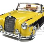1958 Mercedes 220SE Open Convertible Yellow / Brazil Brown 1/18 Diecast Model Car by Sunstar