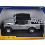 Land Rover Defender 110 Pick Up with Double Cab Silver 1/18 Diecast Model Car by Universal Hobbies