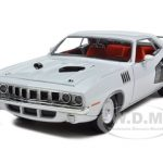 1971 Plymouth Cuda 383 Sno White With Black Billboard Stripe 1/24 Diecast Model Car by M2 Machines
