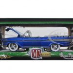 1957 Chevrolet Bel Air Convertible Satin Blue with White Tom Kelly Special Edition 1/24 Diecast Model Car by M2 Machines