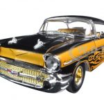 1957 Chevrolet Bel Air Hard Top Molten Gold and Gloss Black Metallic Tom Kelly Special Edition 1/24 Diecast Model Car by M2 Machines