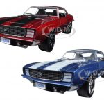 1969 Chevrolet Camaro RS Chip Foose Design Red & Blue Set of 2 Cars 1/24 Diecast Model Cars by M2 Machines