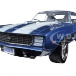 1969 Chevrolet Camaro RS Coastal Blue Pearl with White Stripes 1/24 Diecast Car Model by M2 Machines