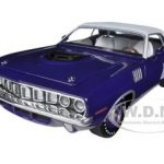 1971 Plymouth Cuda Hemi Violet with White Vinyl Roof 1/24 Diecast Model Car by M2 Machines