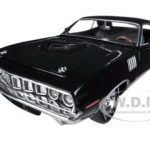 1971 Plymouth Cuda Hemi Black with Black Vinyl Roof 1/24 Diecast Model Car by M2 Machines