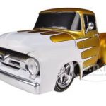 1956 Ford F-100 Pickup Truck Gold Pearl With White Ground Pounders 1/24 Diecast Model by M2 Machines