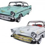 1957 Chevrolet Bel Air Hardtop Surf Green and Imperial Ivory Set of 2 Cars 1/24 Diecast Model Cars by M2 Machines