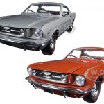 1966 Ford Mustang 2+2 GT Fastback Emberglo Metallic and Silver Frost Set of 2 Cars 1/24 Diecast Model Cars by M2 Machines