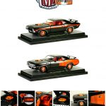 1971 Plymouth Cuda HEMI Orange & 1970 Dodge Challenger R/T 50th HEMI Anniversary Set of 2 Cars 1/24 Diecast Car Model by M2 Machines