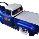 1956 Ford F-100 Pickup Truck Satin Blue/Pearl White Ground Pounders I Love My Hooker Headers 1/24 Diecast Model by M2 Machines
