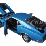 1970 Ford Mustang Boss 302 Dark Aqua Metallic With Black Stripes 1/24 Diecast Model Car by M2 Machines